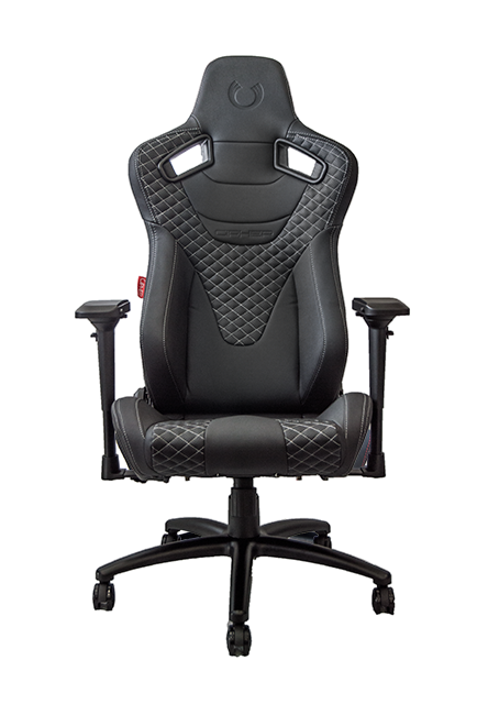 RS Racing Style Seat Black Leatherette Carbon Fiber with Grey Diamond Stitching Premium Office/Gaming Chair