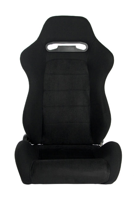 CPA1013 BLACK CLOTH W/ MICROSUEDE INSERT CIPHER AUTO RACING SEATS - PAIR