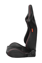 CPA2009RS Cipher Racing Seats Black Leatherette Carbon Fiber w/ Red Stitching - Pair (NEW!)