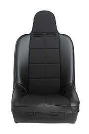 CPA3004 BLACK LEATHERETTE W/ FABRIC INSERT CIPHER AUTO UNIVERSAL FIXED BACK SUSPENSION SEAT - SINGLE