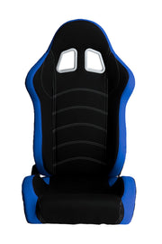 CPA1018 BLUE AND BLACK CLOTH CIPHER AUTO RACING SEATS - PAIR