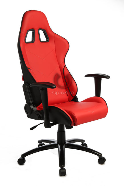 CPA5001 ALL RED LEATHERETTE CIPHER AUTO OFFICE RACING SEAT