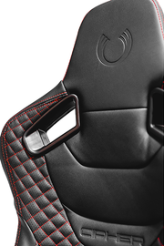 CPA2009RS AR-9 Revo Racing Seats Black Leatherette Carbon Fiber with Red Diamond Stitching - Pair (NEW!)