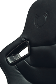 CPA2009RS Cipher Racing Seats Black Leatherette & Suede w/ Carbon Fiber Polyurethane Backing - Pair (NEW!)
