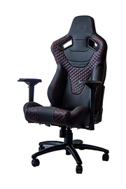 RS Racing Style Seat Black Leatherette Carbon Fiber with Red Diamond Stitching Premium Office/Gaming Chair