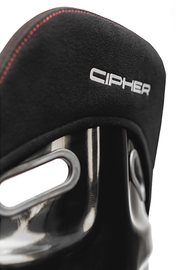 CPA2011 All Black Fabric w/ PVC Dotted Accents w/ Red Stitching Cipher Auto FRP Bucket Seat - Single (NEW!)