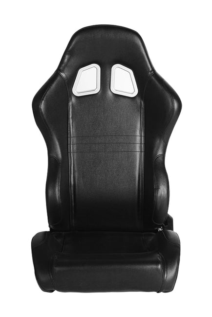 CPA1007 ALL BLACK LEATHERETTE CIPHER AUTO RACING SEATS - PAIR