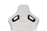 CPA2009PCFWH  LIMITED EDITION! CIPHER RACING SEATS EGGSHELL WHITE LEATHERETTE CARBON FIBER W/ WHITE STITCHING - PAIR