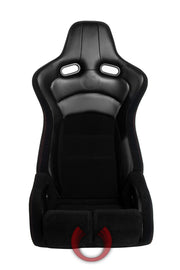 CPA2002CFBK-R CIPHER VIPER RACING SEATS BLACK CLOTH BLACK CARBON PU W/ RED STITCHING - PAIR
