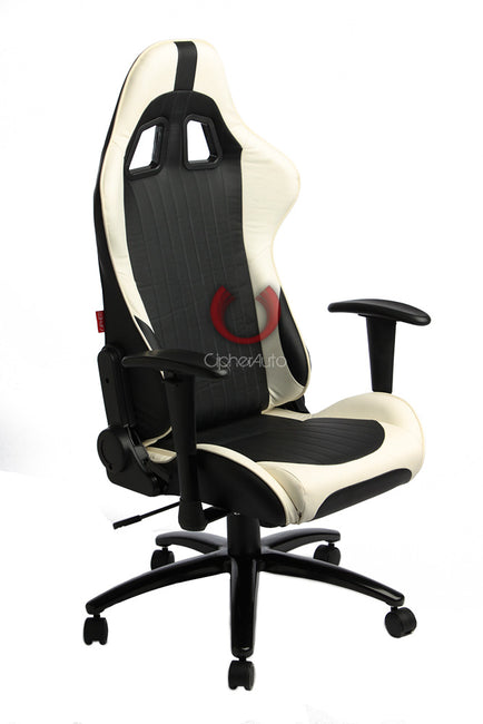 CPA5001 BLACK & WHITE LEATHERETTE CIPHER AUTO OFFICE RACING SEAT