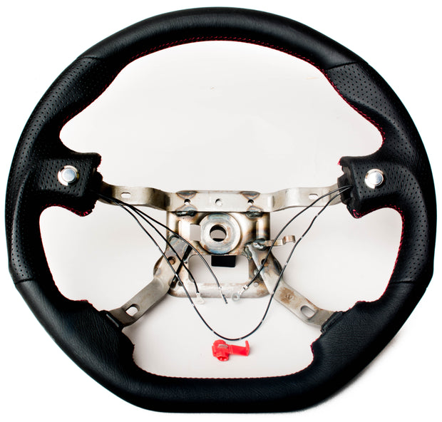 Enhanced Steering Wheel for Mazda Miata NA Leather with Magenta/Red Wine Stitching