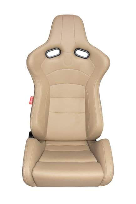 CPA2003 Cipher VP-8 Racing Seats Beige Leatherette w/ Black Carbon PU - Pair