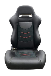 CPA1075 Black Leatherette w/ Grey Stitching and Micro Suede Inserts w/ Red Accents Universal Racing Seats - Pair (NEW!)