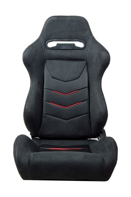 CPA1075 Black Micro Suede With CF PU Leatherette inserts W/ Red Accents Universal Racing Seats - Pair (NEW!)----OUT OF STOCK ETA --- 7/5/2020