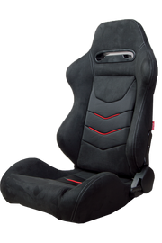 CPA1075 Black Micro Suede With CF PU Leatherette inserts W/ Red Accents Universal Racing Seats - Pair (NEW!)
