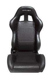 CPA1031 Black Leatherette w/ Black Accent Piping Cipher Auto Racing Seats - Pair (out of stock ETA 2/30/2020)