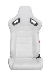 CPA2009 Limited Edition! Cipher Racing Seats Eggshell White Leatherette Carbon Fiber w/ White Stitching - Pair
