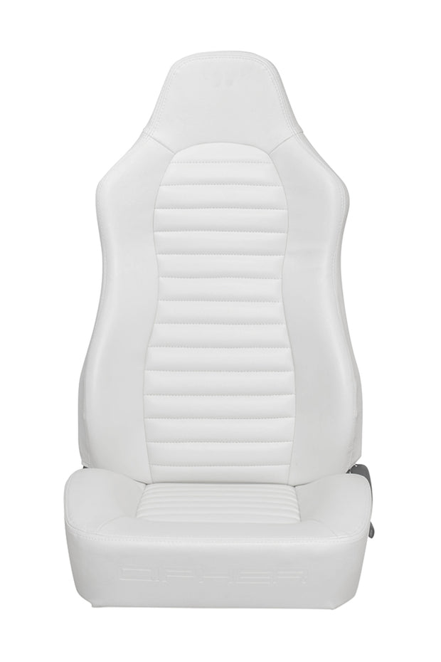 CPA3001 ALL WHITE LEATHERETTE CIPHER AUTO UNIVERSAL JEEP SEATS - PAIR