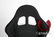 CPA1016 BLACK CLOTH W/ GREY STITCHING CIPHER AUTO RACING SEATS - PAIR