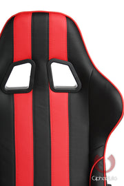 CPA5001 BLACK & RED STRIPE LEATHERETTE CIPHER AUTO OFFICE RACING SEAT