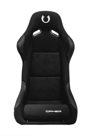 CPA2011 All Black Fabric PVC Dotted Accents w/ Black Stitching Cipher Auto FRP Bucket Seat - Single (NEW!)