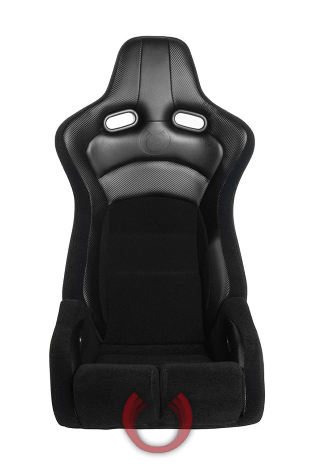 CPA2002CFBK  CIPHER VIPER RACING SEATS BLACK CLOTH BLACK CARBON PU W/ BLACK STITCHING - PAIR