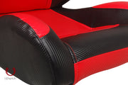 CPA1003CFBKRD FULL CARBON FIBER PU CIPHER AUTO RACING SEATS IN BLACK AND RED – PAIR
