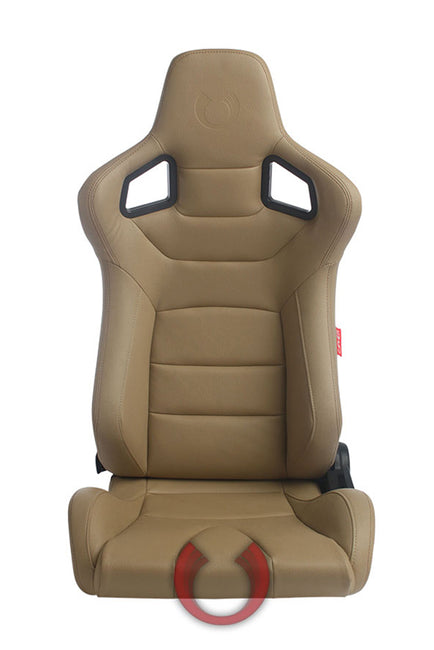 CPA2001PCFBG CIPHER EURO RACING SEATS TAN LEATHERETTE CARBON FIBER - PAIR