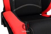 CPA1018 RED AND BLACK CLOTH CIPHER AUTO RACING SEATS - PAIR