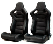 CPA2009PCFBK  CIPHER RACING SEATS BLACK LEATHERETTE CARBON FIBER W/ GREY STITCHING - PAIR