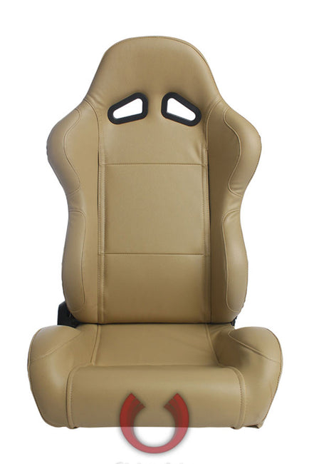 CPA1001 ALL TAN LEATHERETTE CIPHER AUTO RACING SEATS - PAIR