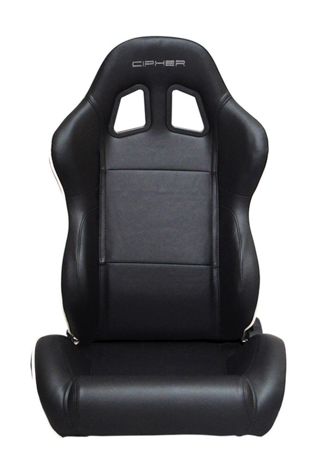 CPA1031 BLACK LEATHERETTE WITH WHITE ACCENT PIPING CIPHER AUTO RACING SEATS - PAIR