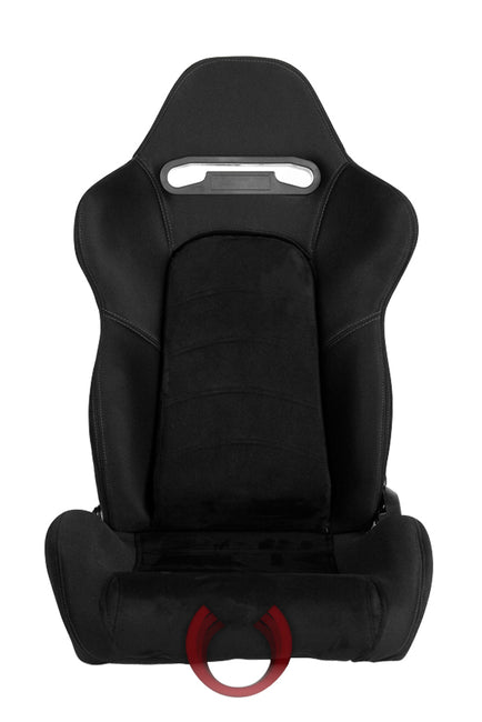 CPA1019 BLACK CLOTH W/ MICROSUEDE INSERT & GREY STITCHING CIPHER AUTO RACING SEATS - PAIR
