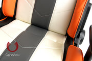 CPA5001 WHITE W/ GRAY AND ORANGE STRIPES LEATHERETTE CIPHER AUTO OFFICE RACING SEAT