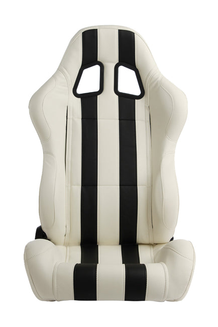 CPA1026 WHITE LEATHERETTE WITH BLACK STRIPES CIPHER AUTO RACING SEATS - PAIR