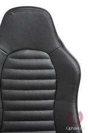 CPA3001 ALL BLACK LEATHERETTE CIPHER AUTO UNIVERSAL JEEP SEATS - PAIR