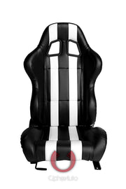CPA1026 BLACK LEATHERETTE WITH WHITE STRIPES CIPHER AUTO RACING SEATS - PAIR