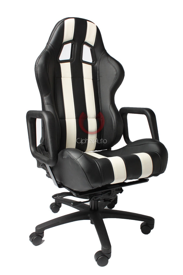 CPA3026 BLACK LEATHERETTE & WHITE STRIPES CIPHER AUTO CUSTOM MADE OFFICE RACING SEAT