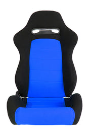 CPA1013 BLACK & BLUE INSERT CLOTH CIPHER AUTO RACING SEATS - PAIR