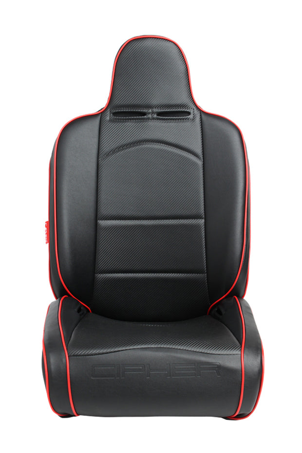 CPA3002 ALL BLACK LEATHERETTE W/ RED PIPING CIPHER AUTO UNIVERSAL RECLINABLE SUSPENSION SEATS - PAIR