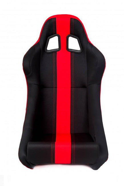 CPA1005 All Black w/ Red Stripe Fabric Cipher Auto Full Bucket Racing Seat - Single
