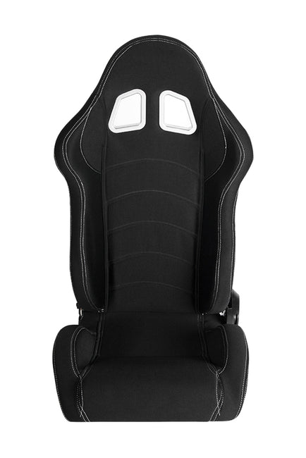 CPA1016 BLACK CLOTH W/ WHITE STITCHING CIPHER AUTO RACING SEATS - PAIR