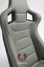 CPA2001PCFGY CIPHER EURO RACING SEATS GRAY LEATHERETTE CARBON FIBER W/ DARK GREY STITCHING - Pair