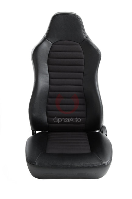 CPA3001 ALL BLACK LEATHERETTE W/ FABRIC INSERT CIPHER AUTO UNIVERSAL JEEP SEATS - PAIR