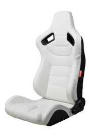 CPA2009 Cipher Racing Seats Eggshell White Leatherette Carbon Fiber w/ Black Stitching - Pair