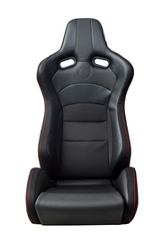 CPA2003 Cipher VP-8 Racing Seats Black w/ Red Stitching Black Carbon PU - Pair---OUT OF STOCK