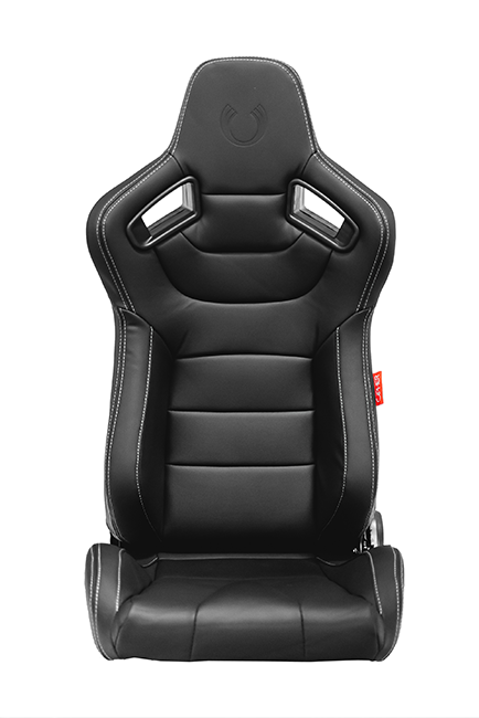 CPA2009 Cipher Racing Seats Black Leatherette Carbon Fiber w/ Grey Stitching - Pair (ETA---6/10/2019)