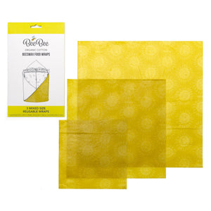Three mixed size organic cotton beeswax food wraps