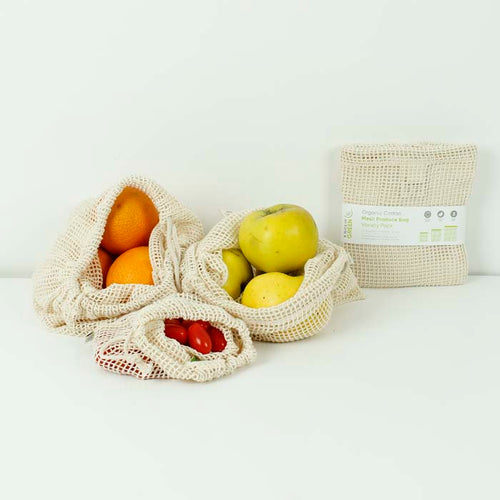 Organic Cotton Mesh Produce Bags - Variety Pack - Set of 3