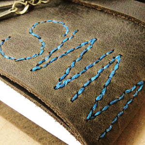 Monogrammed leather journal hand stitched letters